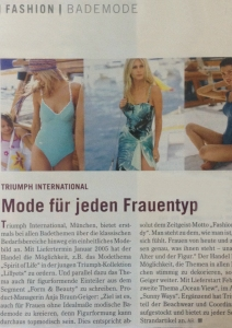 PRESS RELEASE:Triumph International swim Europe S/S2003 magazine article